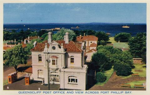 Queenscliff Post Office and view across Port Phillip Bay, 1964