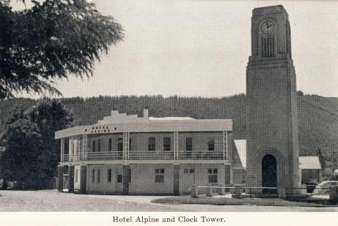 Hotel Alpine and clock tower, Bright