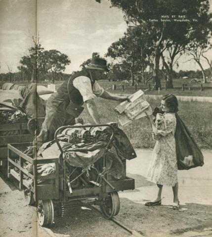 Mail by rail, trolley service, Wangaratta, 1954