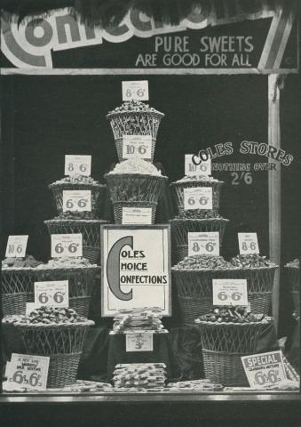 Confectionery window Coles Store, Prahran 1934