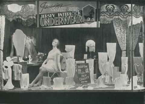 Lingerie window, Coles, Brunswick, 1933