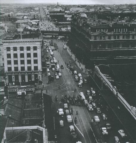 Spencer Street, looking south from Collins Street, 1953