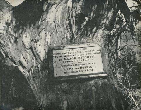 Historical Tablet at Ovens River Bridge, Ovens Valley, 1960