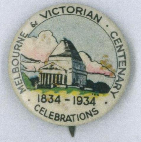 Melbourne and Victorian Centenary Celebrations badge, 1934