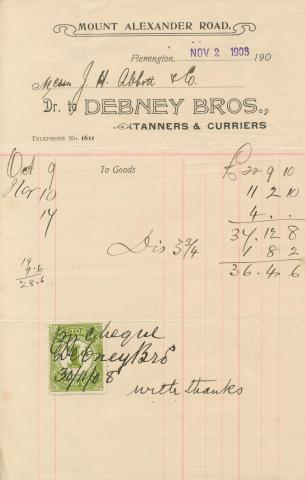 Debney Bros, Flemington, 1908