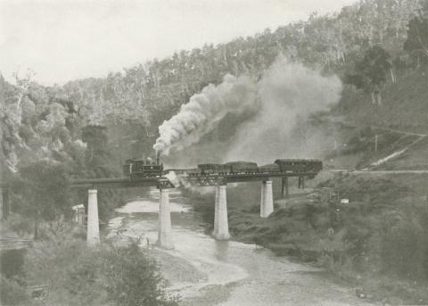 Train crossing the Thomson River, Walhalla, c1910
