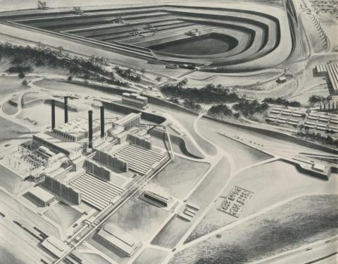 Morwell Power and Fuel Development, artist's impression, 1959