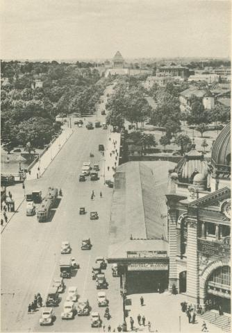 St Kilda Road, from Swanston Street, Melbourne, c1937
