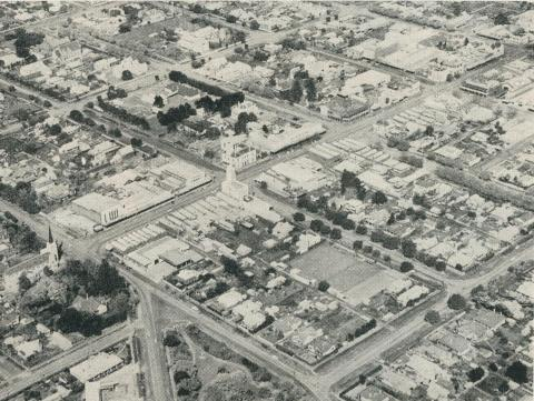An aerial view of the city, Horsham, 1960