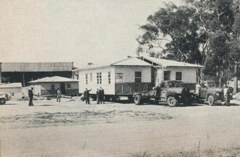 A 'Phelan' ready built home loaded for transport, Maryborough, 1961