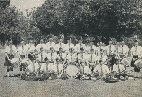 Members of the Pipe Band, Princes Park Oval, Maryborough, 1961