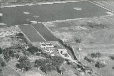 Aerial view of the Sewage Treatment Works, Braeside, 1955