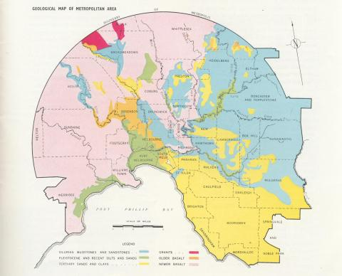 Geological Map of Melbourne Metropolitan area, 1956