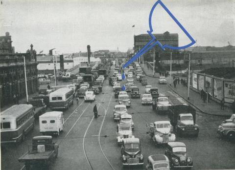 Traffic on Spencer Street Bridge, Melbourne, 1957