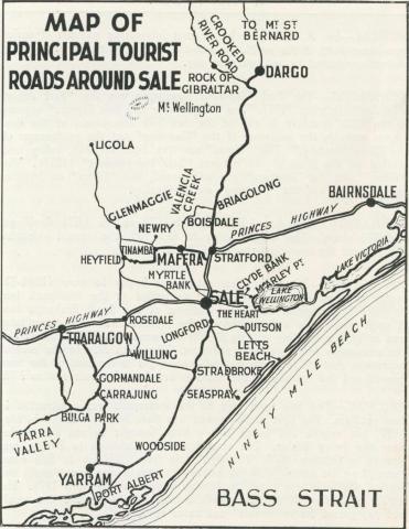 Map of principal tourist roads around Sale, 1938