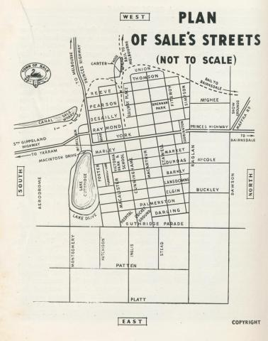 Plan of Sale's streets, 1938