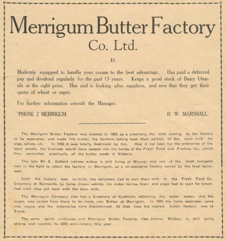 Merrigum Butter Factory Co Ltd, 1945