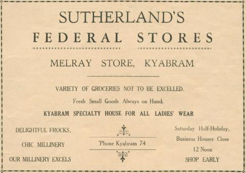Sutherland's Federal Stores, Melray Store, Kyabram, 1945