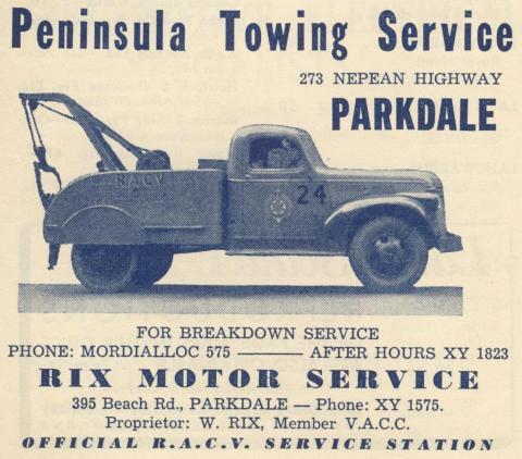 Peninsula Towing Service, Parkdale, 1949