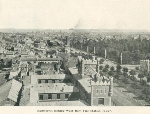 Melbourne looking west from Fire Station tower, 1900