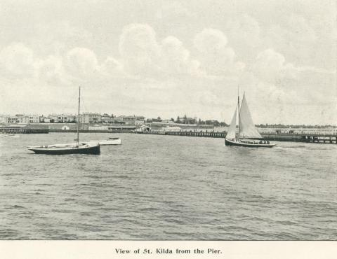 View of St Kilda from the pier, 1900