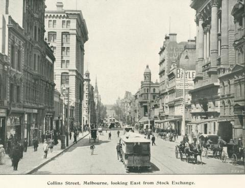 Collins Street, Melbourne, looking east from Stock Exchange, 1900