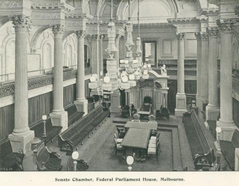 Senate Chamber, Federal Parliament House, Melbourne, 1900