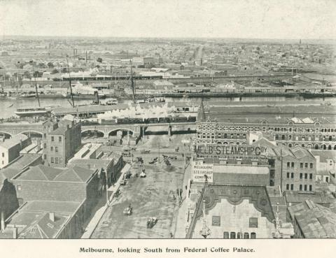 Melbourne looking south from Federal Coffee Palace, 1900