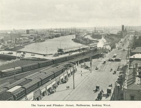 The Yarra and Flinders Street, Melbourne, 1900
