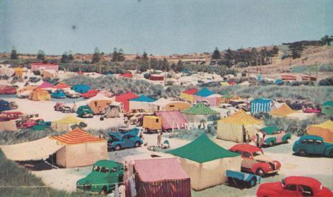 Seaside camping, Warrnambool, c1960