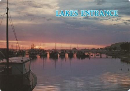 Sunset over the boat harbour, Lakes Entrance