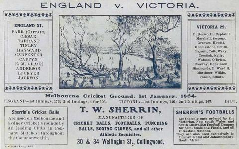Advertisement for T.W. Sherrin sporting goods c1904, featuring a cricket match at the MCG in 1864