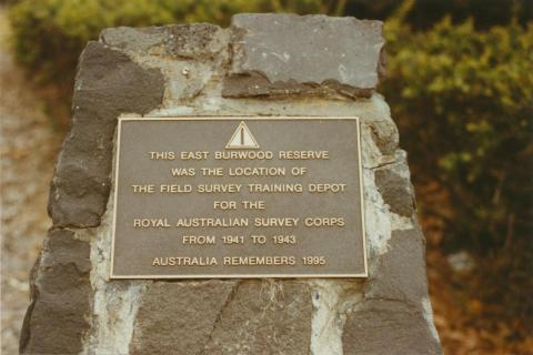 Burwood East reserve plaque, 2003