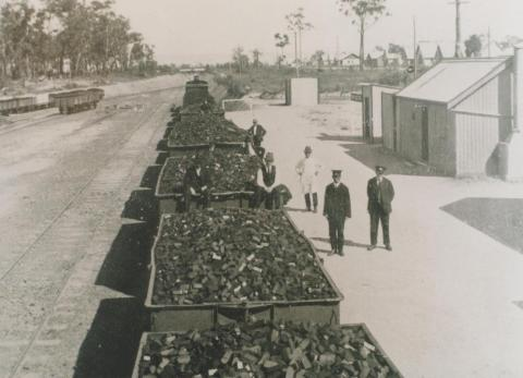First train load of briquettes, Yallourn, 1925