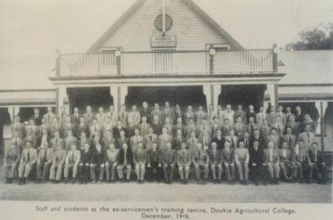 Staff and students at Dookie Agricultural College, 1947