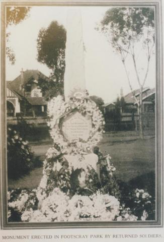 Monument erected in Footscray Park by returned soldiers, 1926