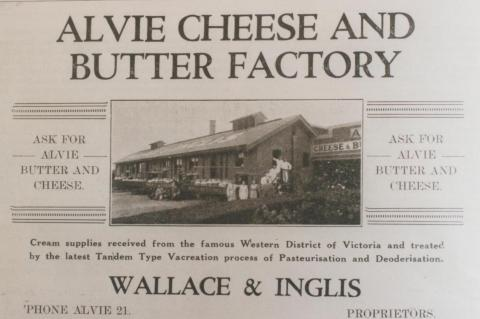 Advertisement, Alvie cheese and butter factory, 1937