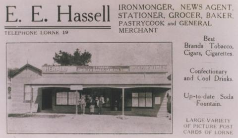 Advertisement, E.E. Hassell Ironmonger, Lorne, 1920