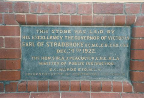 Flemington School (1922) plaque, 1987