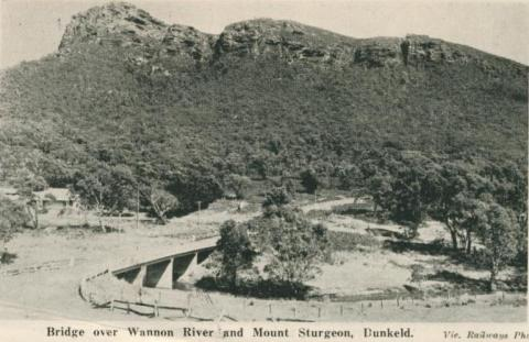 Bridge over Wannon River and Mount Sturgeon, Dunkeld, 1952