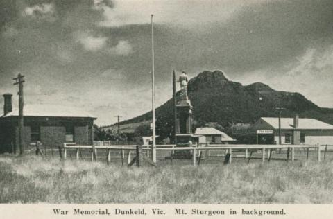 War Memorial, Dunkeld, Mt Sturgeon in background, 1952