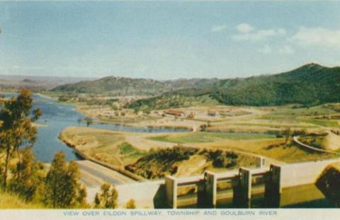 View over Eildon spillway, township and Goulburn River