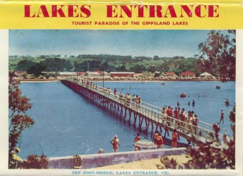 The foot-bridge Lakes Entrance, 1965