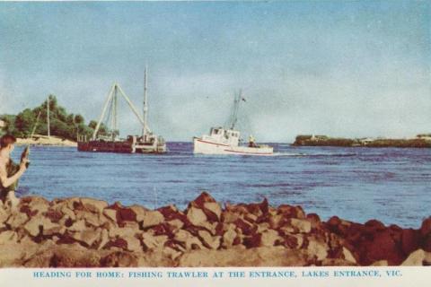 Fishing trawler at the Entrance, Lakes Entrance, 1965