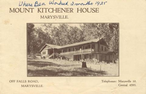 Mount Kitchener House, Marysville, c1925