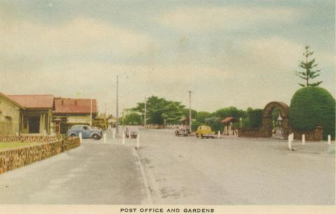 Post Office and gardens, Mornington, 1951