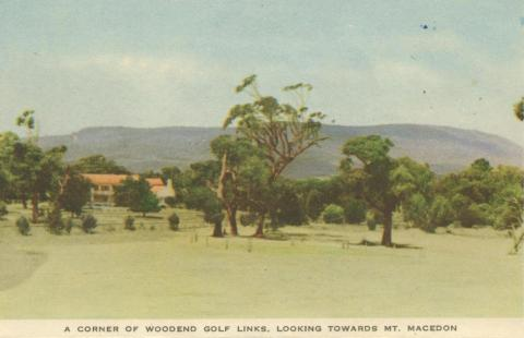 A corner of Woodend Golf Links, looking towards Mount Macedon, 1955