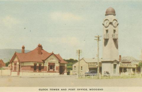 Clock Tower and Post Office, Woodend, 1955