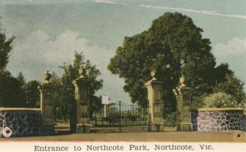Entrance to Northcote Park, Northcote