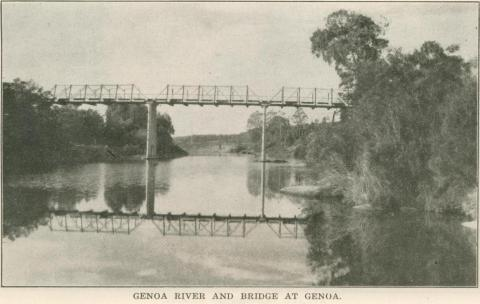 Genoa River and Bridge, Genoa, 1947
